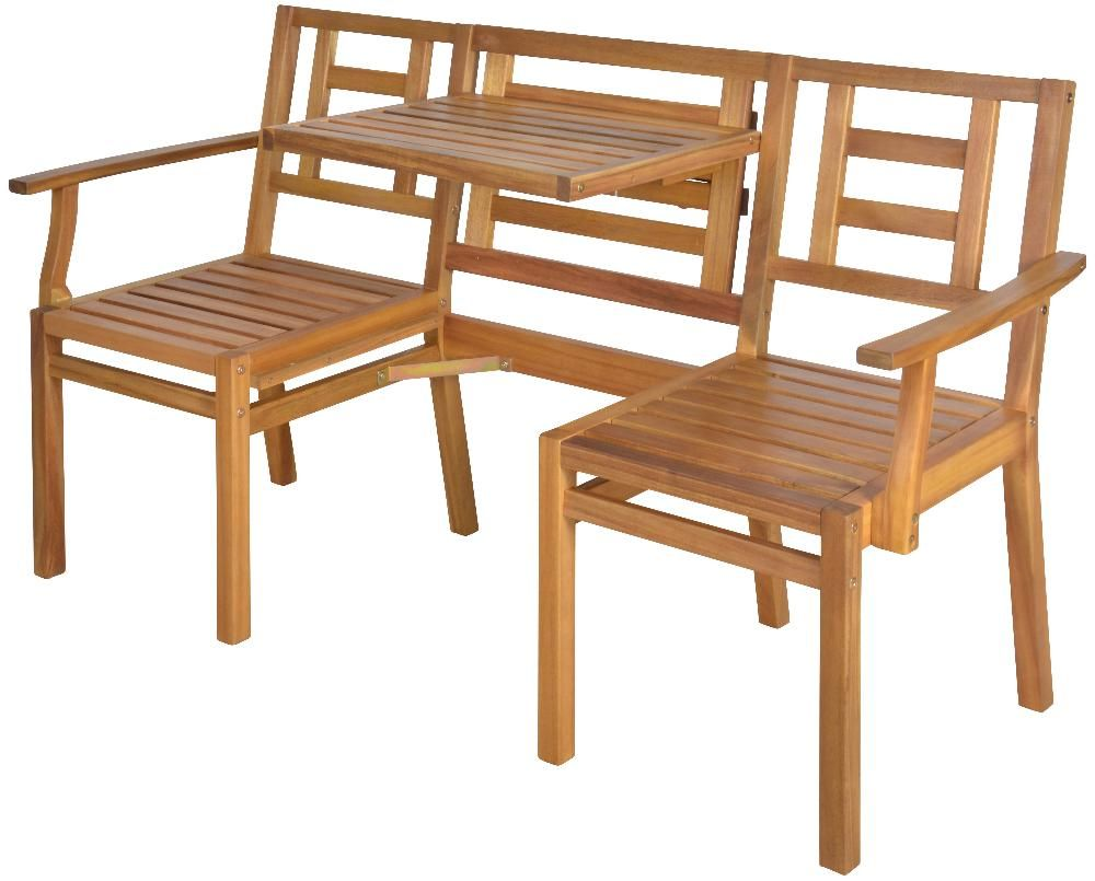 Banc de jardin en bois convertible en table 2 chaises for Banc de table en bois