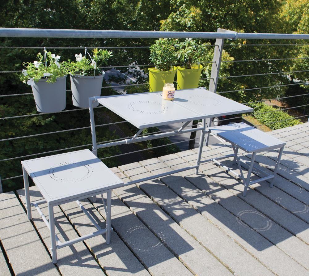 Banc de jardin convertible table tabourets en m tal gris - Banc de jardin transformable en table ...