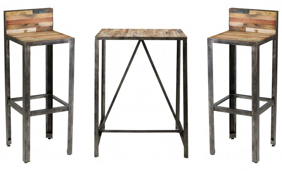 Ensemble bar besi 1 table 2 tabourets - Tabouret de bar couleur ...