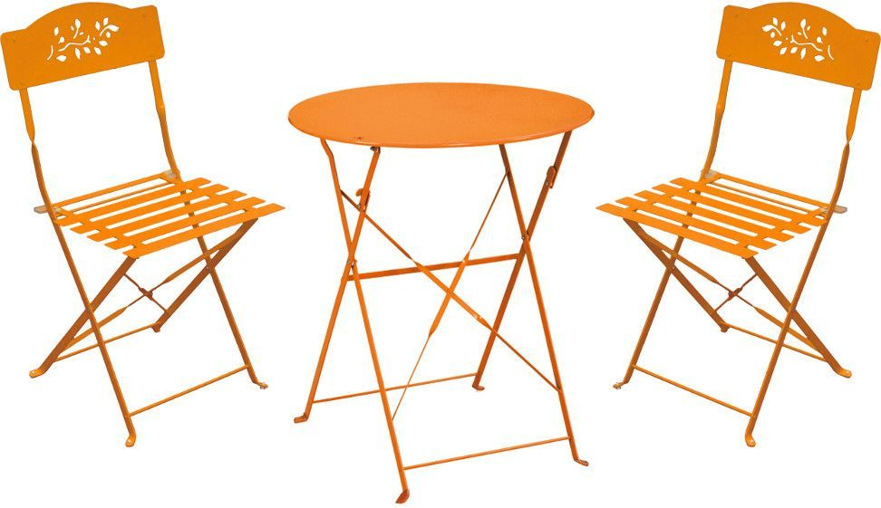 Ensemble de jardin diana 1 table 2 chaises orange for Ensemble table et chaise de jardin metal