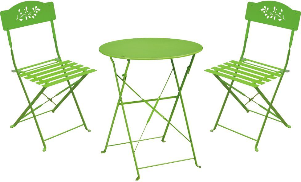 Ensemble de jardin diana 1 table 2 chaises vert for Ensemble table et chaise 2 personnes