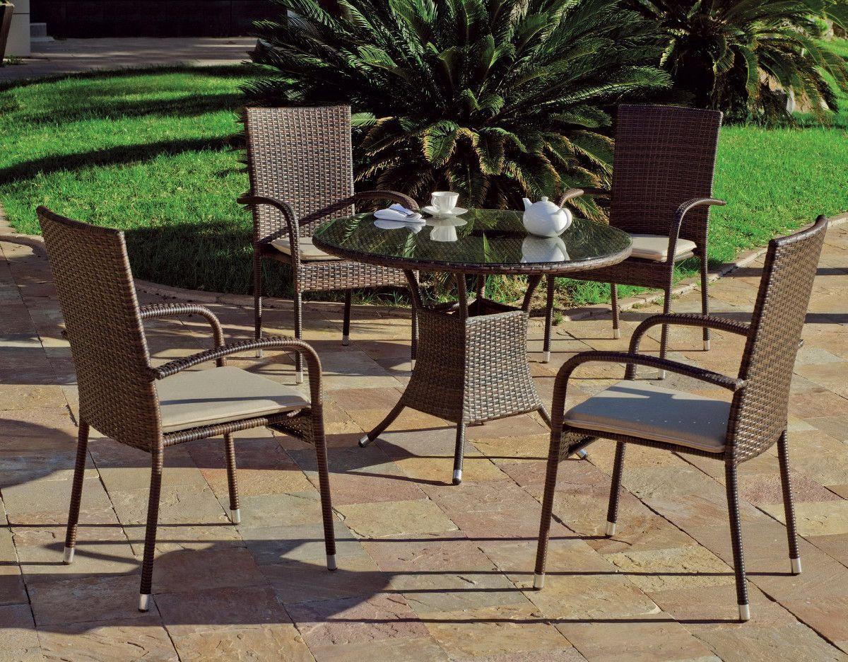 Ensemble jardin 4 places table ronde bergamo for Table ronde 6 places