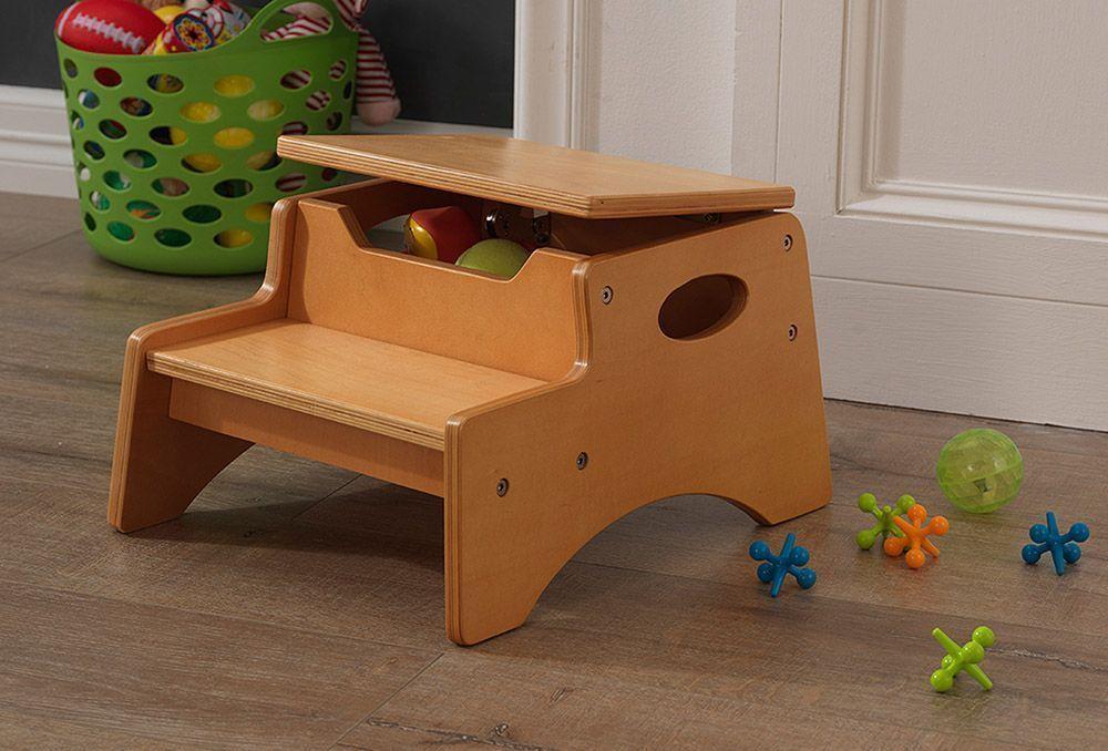 Escabeau enfant avec rangement en bois - Table enfant avec rangement ...