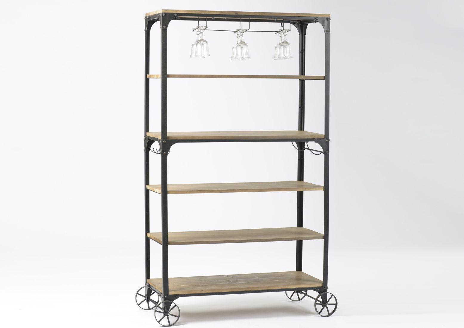 grande tag re bois et m tal sur roulettes. Black Bedroom Furniture Sets. Home Design Ideas