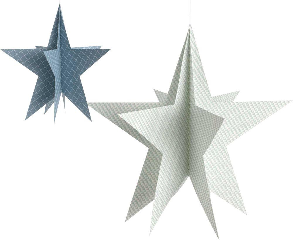 etoiles suspendre en papier lot de 2 bleu et blanc. Black Bedroom Furniture Sets. Home Design Ideas