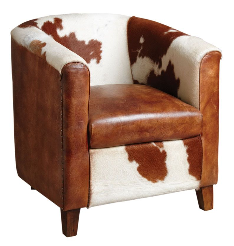 Fauteuil club en cuir et peau de vache - Fauteuil de salon en cuir ...
