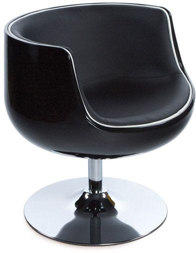 fauteuil design pivotant harlow noir. Black Bedroom Furniture Sets. Home Design Ideas