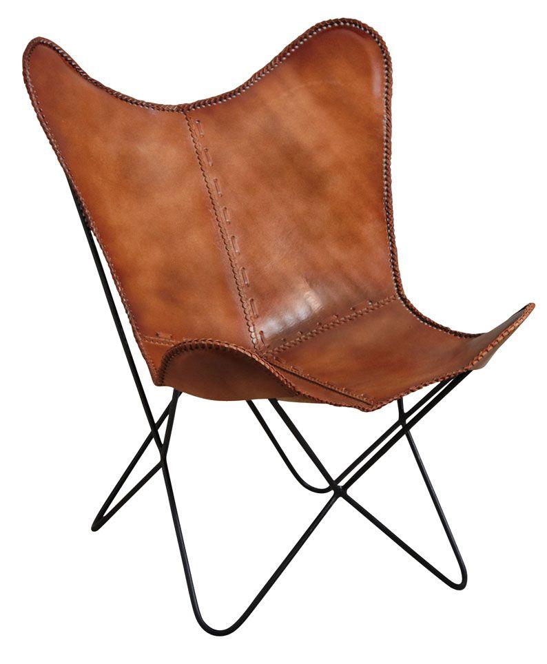 fauteuil papillon en cuir - Chaise En Cuir