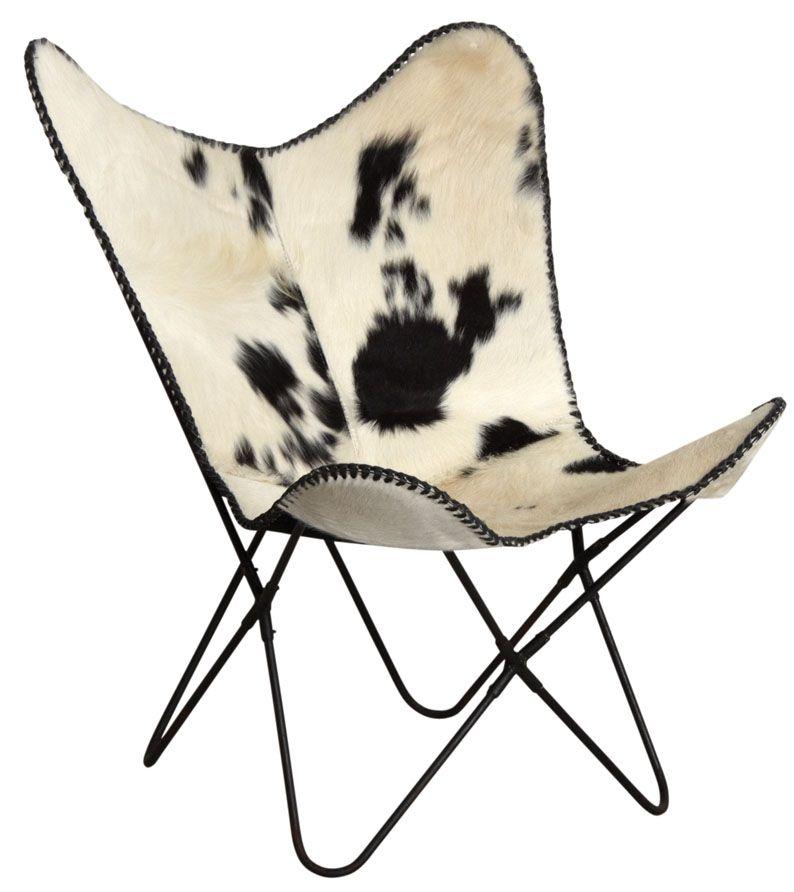 fauteuil papillon en peau de vache noir et blanc. Black Bedroom Furniture Sets. Home Design Ideas