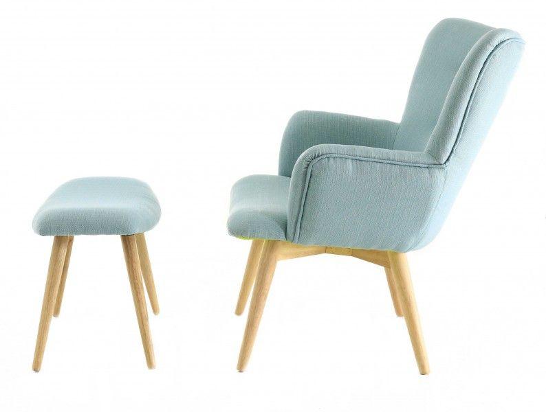 fauteuil avec repose pieds stockholm bleu vert. Black Bedroom Furniture Sets. Home Design Ideas