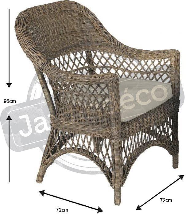 fauteuil en rotin gris avec coussin polo. Black Bedroom Furniture Sets. Home Design Ideas