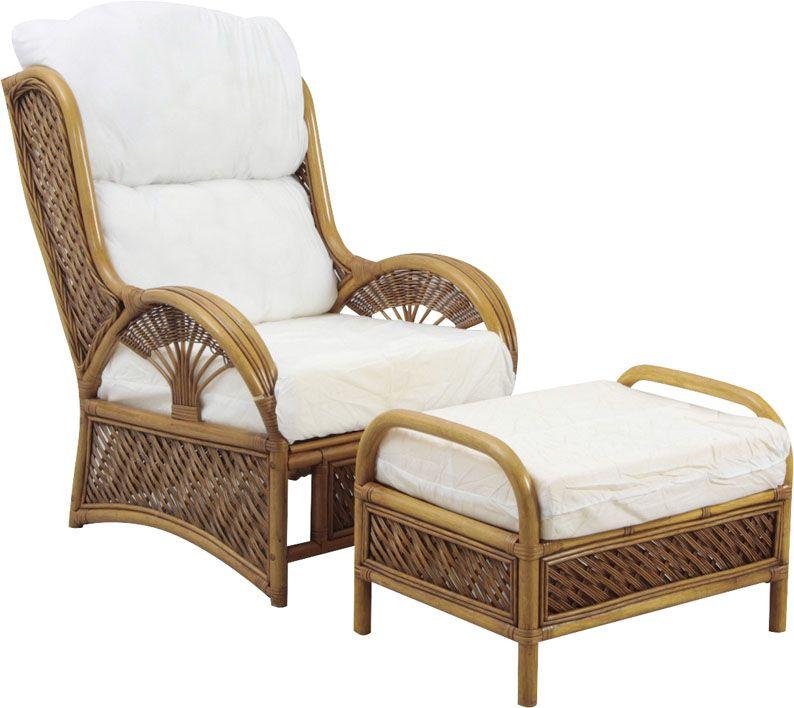 fauteuil en rotin avec tabouret. Black Bedroom Furniture Sets. Home Design Ideas