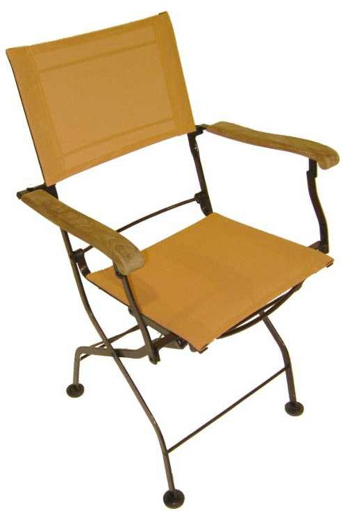 Fauteuils pliants en fer forgé et textilène orange (Lot de 2) by Medicis france