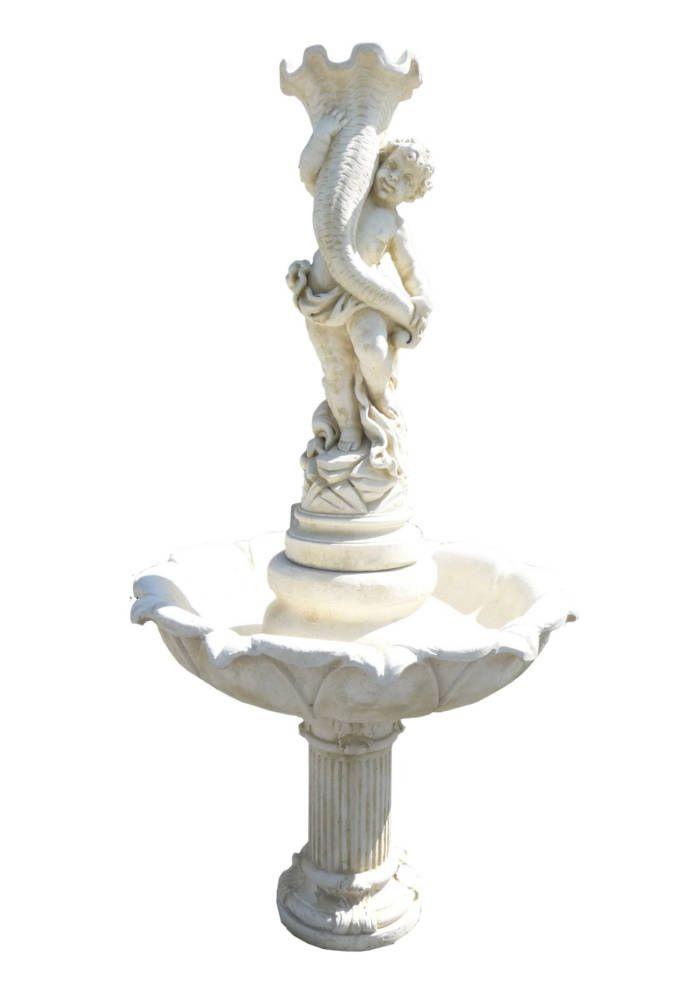 Fontaine Avec Enfant En Pierre Reconstitu E