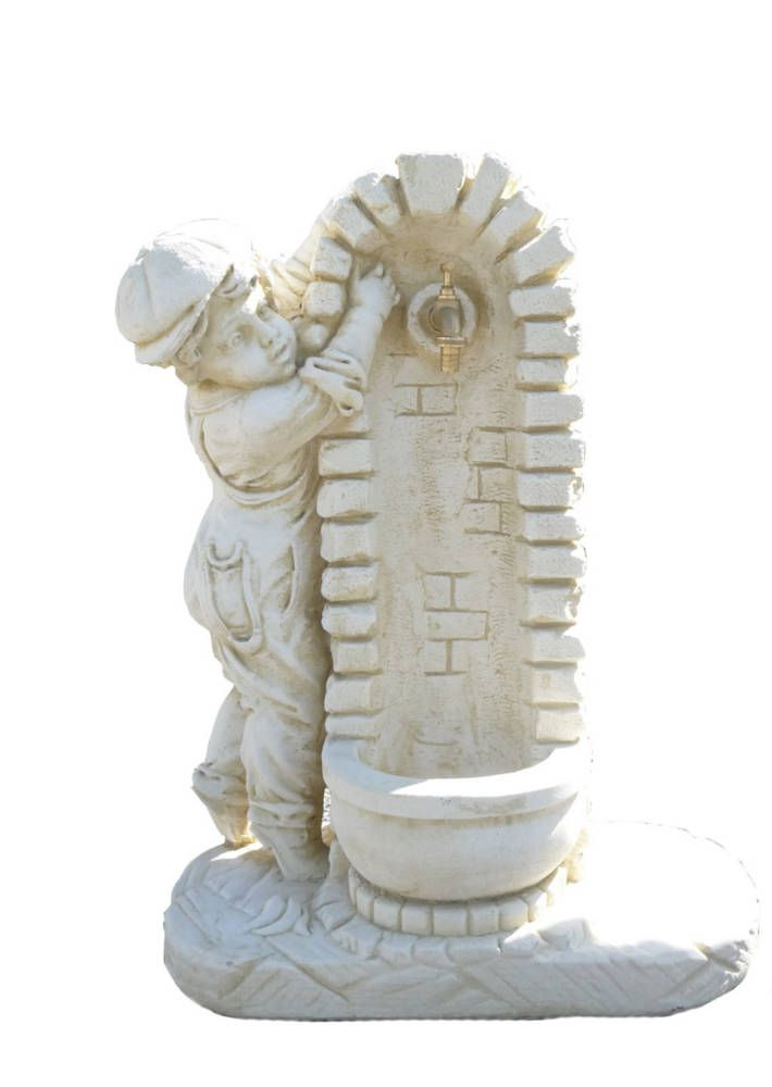 Fontaine avec enfant en pierre reconstitu e - Terrasse avec fontaine ...