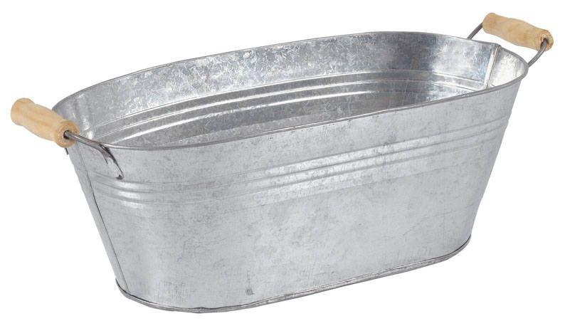 Jardini�re ovale en zinc et bois 40,5x20x14cm