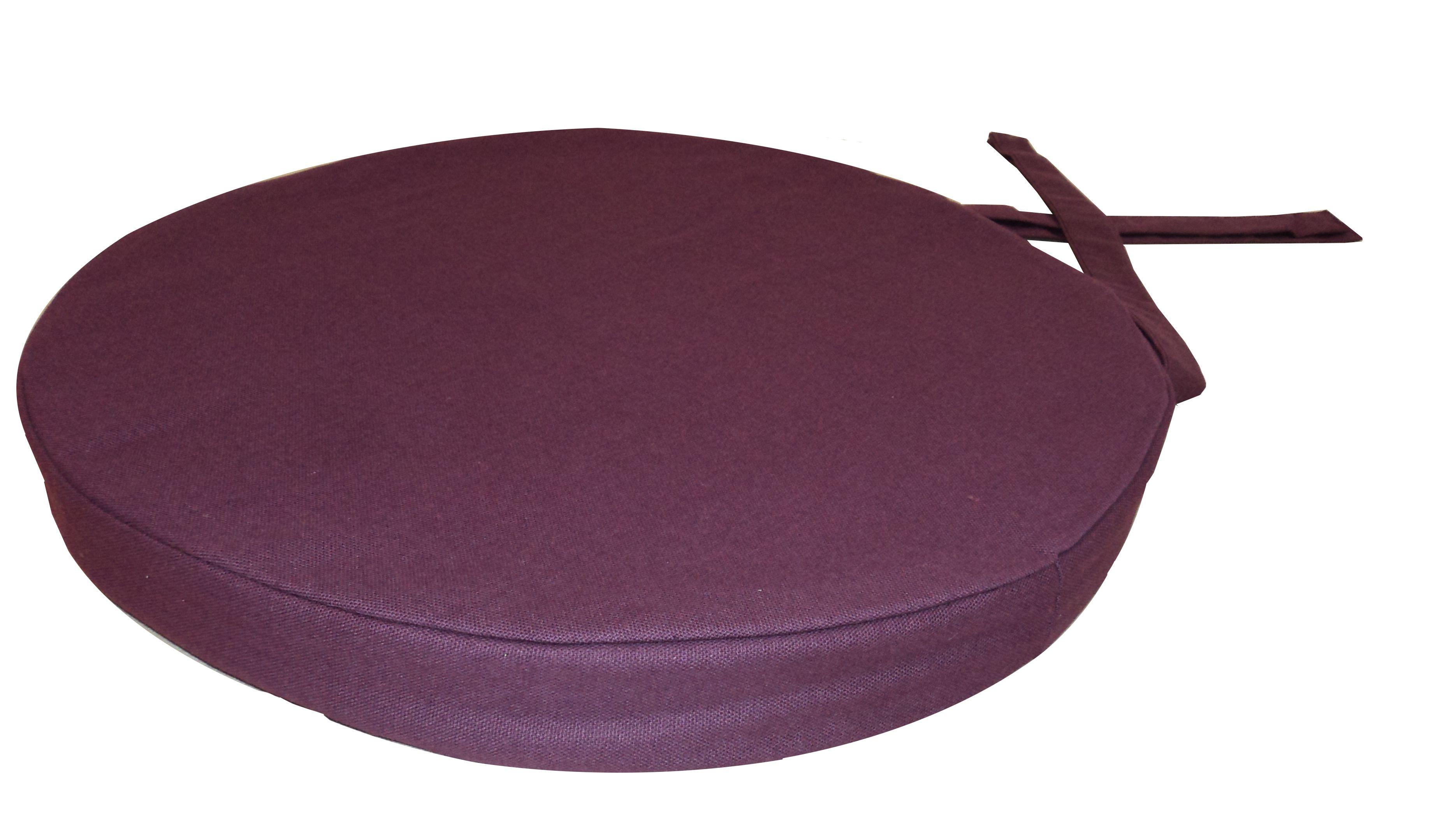 galette de chaise ronde en coton 40 cm lot de 6 aubergine. Black Bedroom Furniture Sets. Home Design Ideas