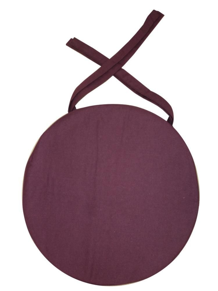 galette de chaise ronde en coton 40 cm aubergine. Black Bedroom Furniture Sets. Home Design Ideas