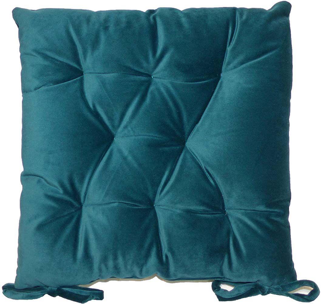 galette de chaise en velours 8 points 40 cm bleu canard. Black Bedroom Furniture Sets. Home Design Ideas