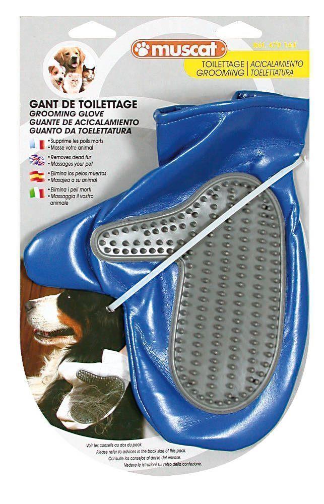 Gant de toilettage chien ou chat (bleu)