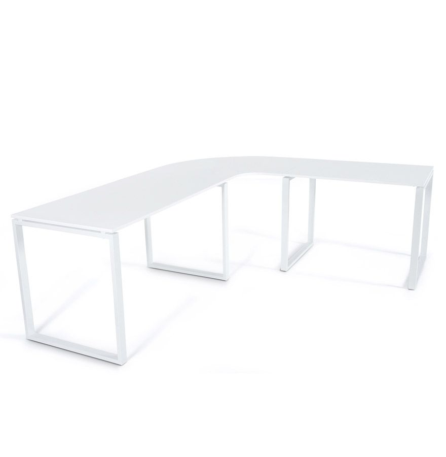 Bureau Angle Design Bureau Duangle Design En Verre Blanc With  # Image Grand Bureau Angle Blanc