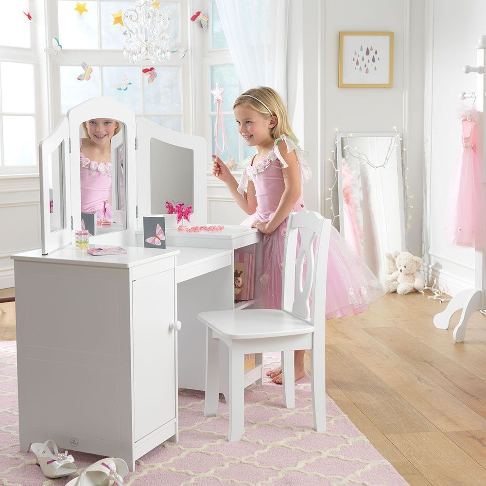 grande coiffeuse en bois pour enfant. Black Bedroom Furniture Sets. Home Design Ideas