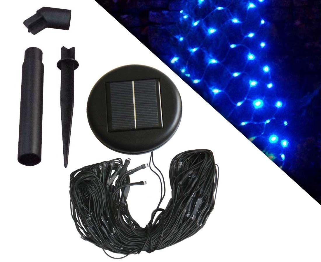 guirlande solaire filet 96 leds bleu. Black Bedroom Furniture Sets. Home Design Ideas