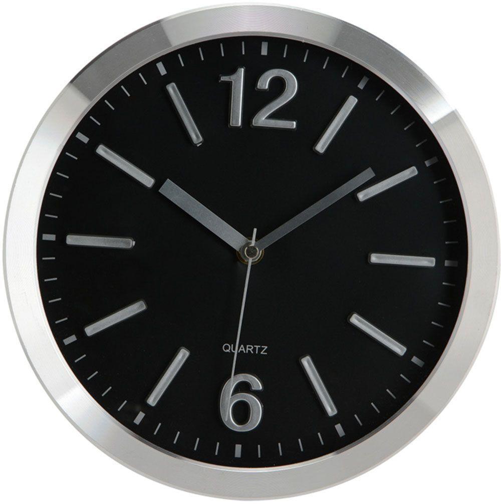 horloge 25cm alu noir