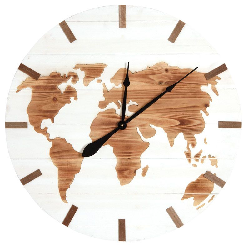 horloge mappemonde en bois. Black Bedroom Furniture Sets. Home Design Ideas