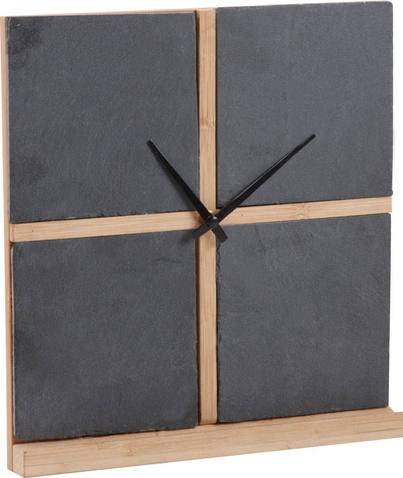 horloge murale ardoise et bambou. Black Bedroom Furniture Sets. Home Design Ideas
