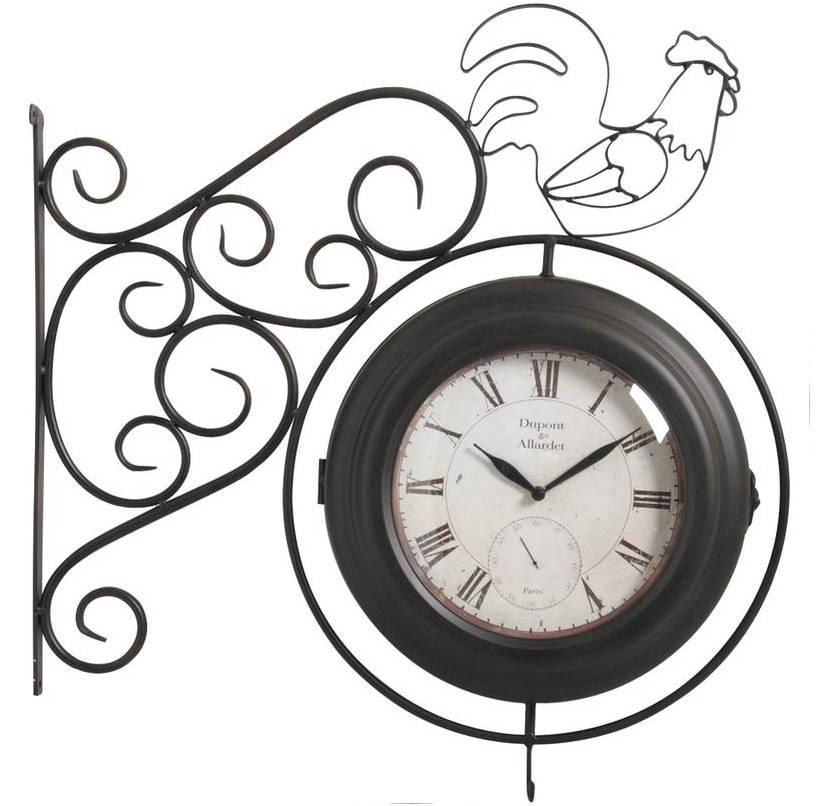 Horloge murale coq double face for Horloge murale verre