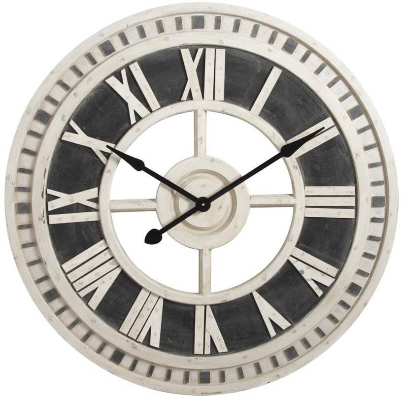 Horloge murale romaine en bois 91cm - Horloge murale design pas cher ...