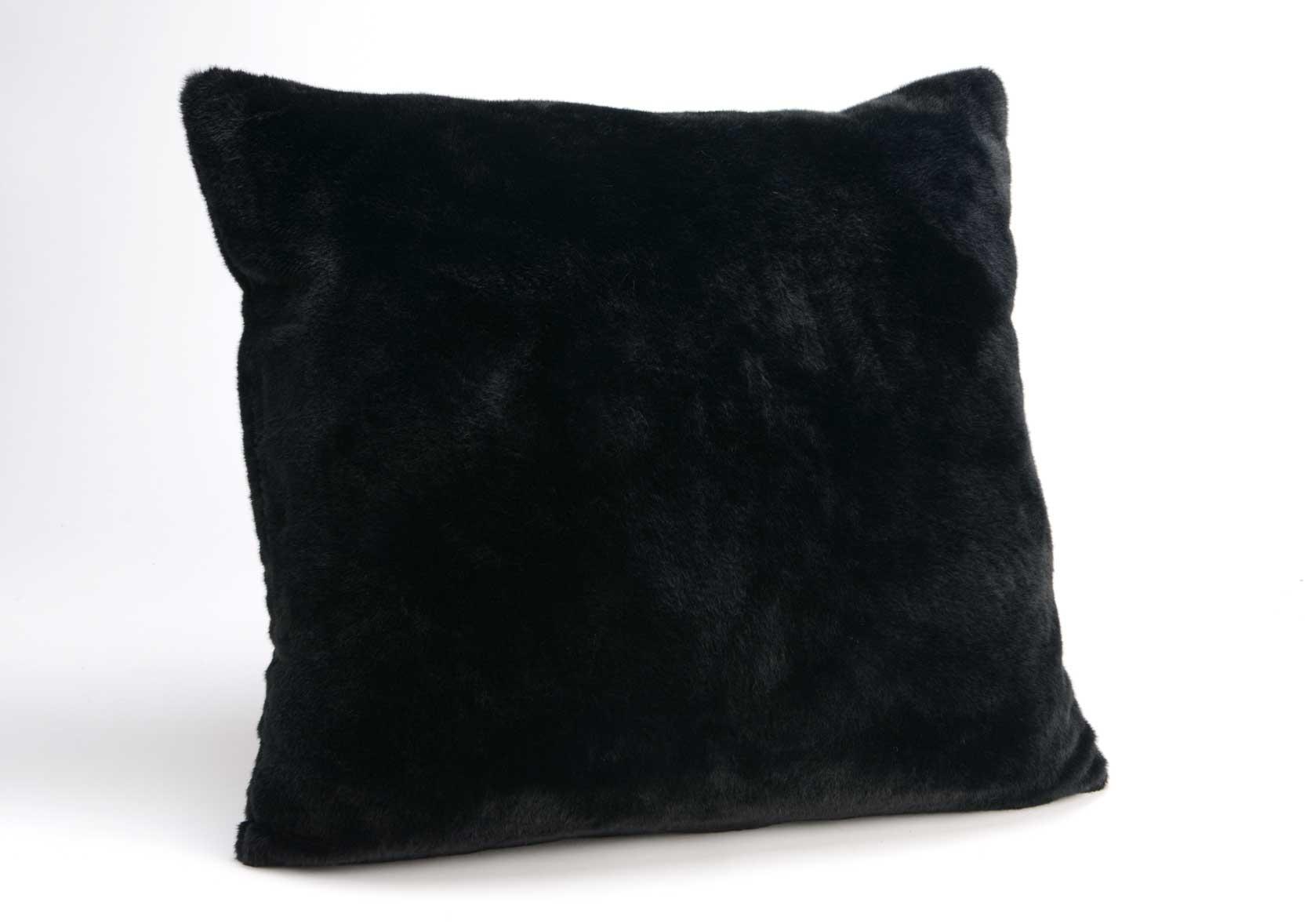 coussin fourrure noir 60cm. Black Bedroom Furniture Sets. Home Design Ideas