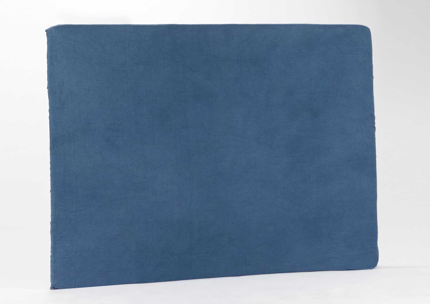 Housse en lin et coton pour t te de lit bleu - Housse tete de lit 140 ...