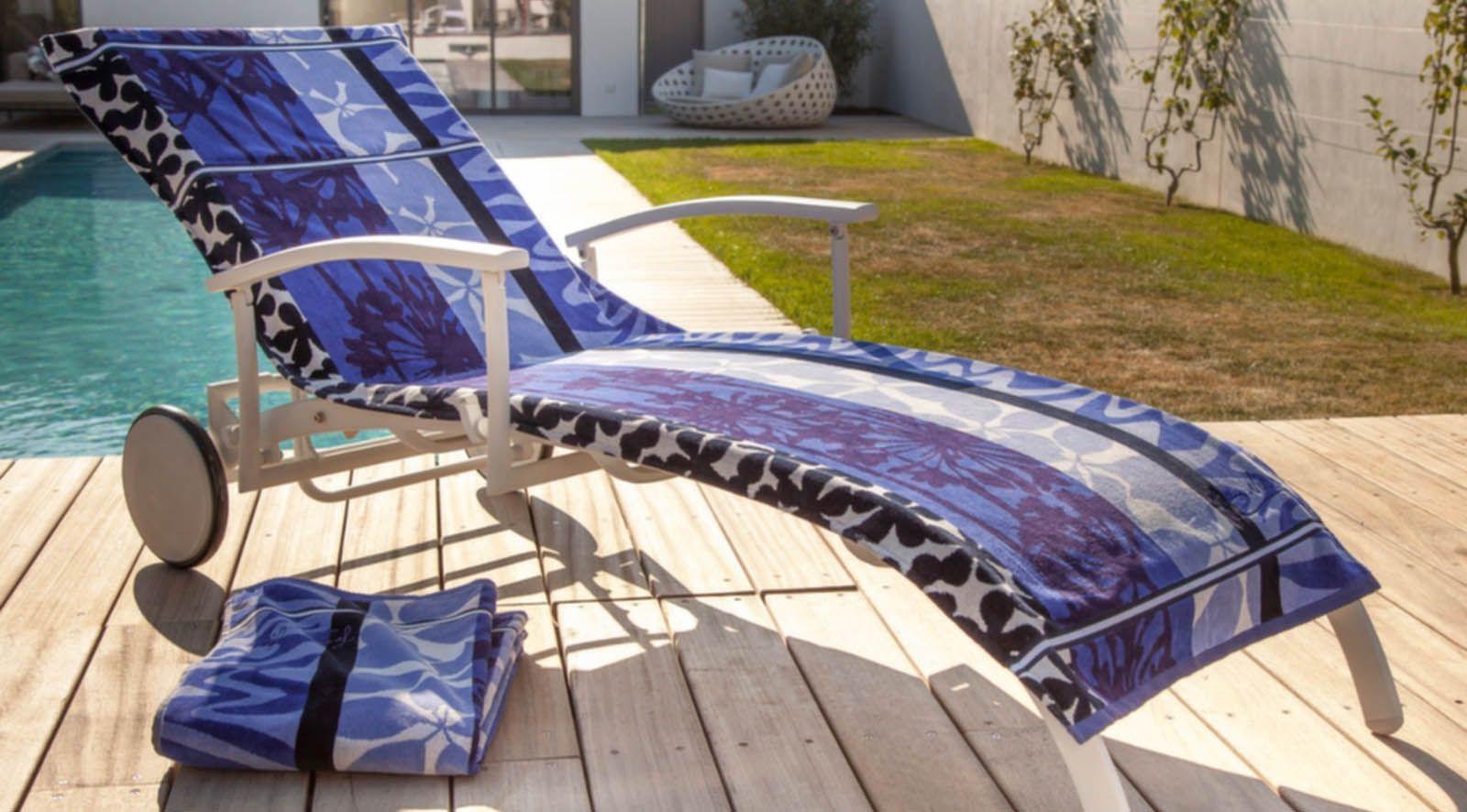 Housse universelle bain de soleil en coton belharra indigo - Housse bain de soleil ...