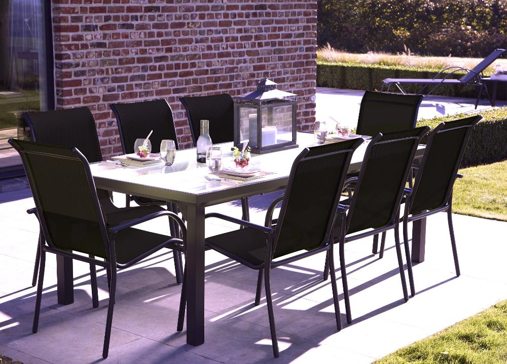 salon de jardin blackgarden 1 table 8 fauteuils noir noir. Black Bedroom Furniture Sets. Home Design Ideas