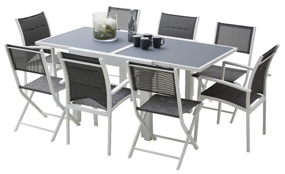 Dimension table salon de jardin for Table de jardin avec chaise pas cher
