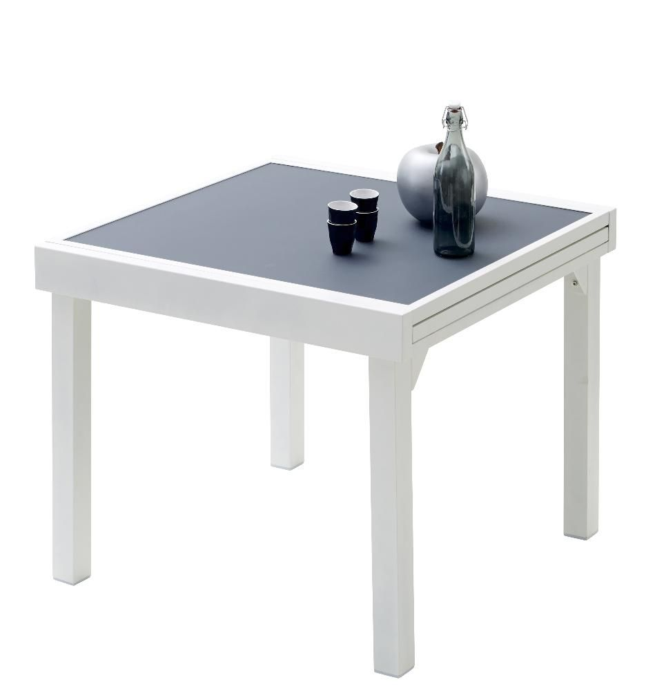 Salon de jardin modulo 1 table 4 fauteuils blanc gris for Table 4 en 1