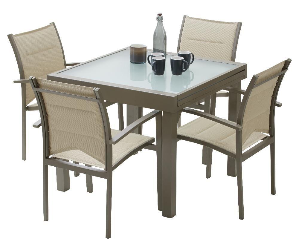Salon De Jardin Modulo 1 Table 4 Fauteuils Taupe Salon En M Tal Wilsa Garden Sur