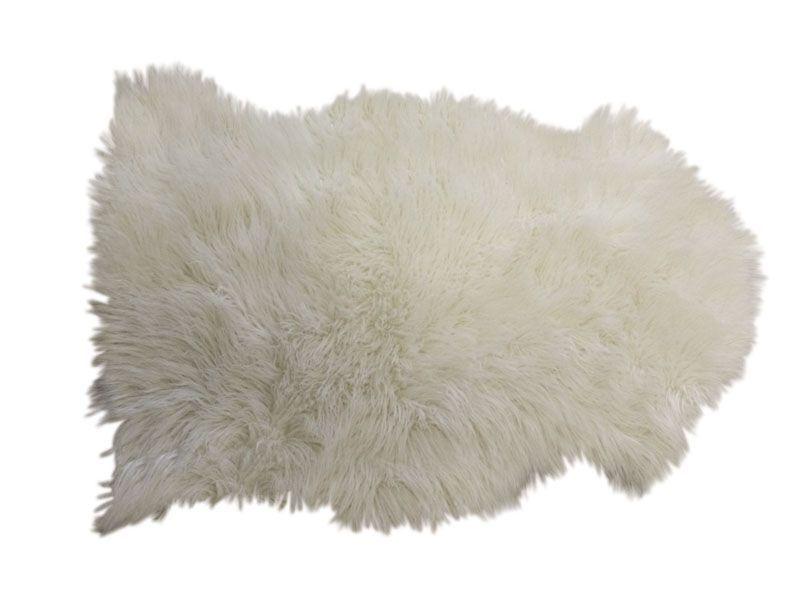 Jet en fausse fourrure ivoire - Tapis fausse fourrure blanc ...