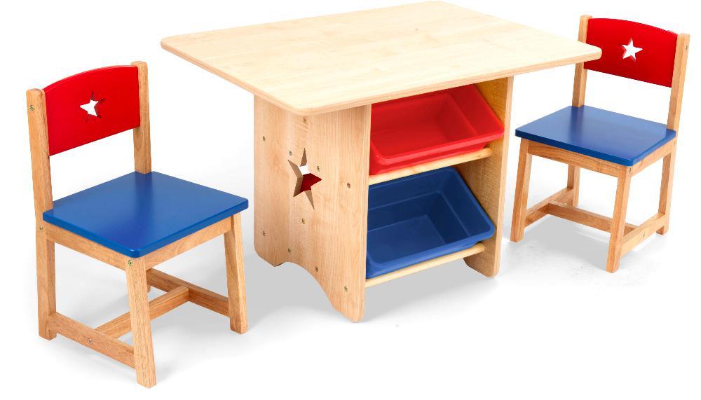 Table, chaises et bac rangement enfant en bois