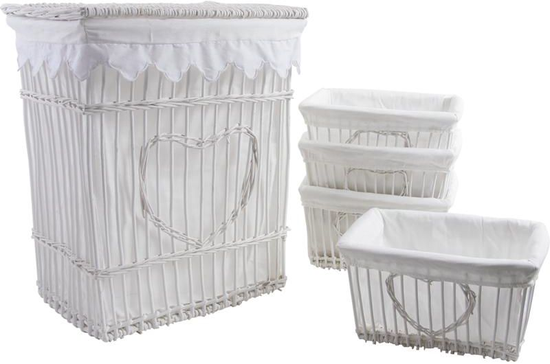 panier linge et 4 corbeilles coeur en osier et coton blanc. Black Bedroom Furniture Sets. Home Design Ideas