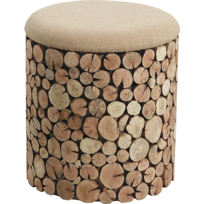 pouf coffre rondins en sapin et jute 33x37cm. Black Bedroom Furniture Sets. Home Design Ideas