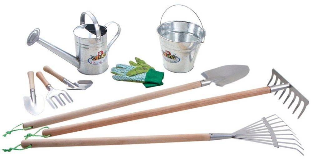 Kit 9 outils de jardinage pour enfant zinc for Les meilleurs sites de jardinage