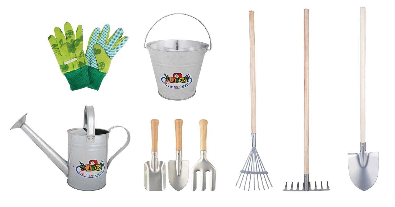 kit 9 outils de jardinage pour enfant zinc. Black Bedroom Furniture Sets. Home Design Ideas