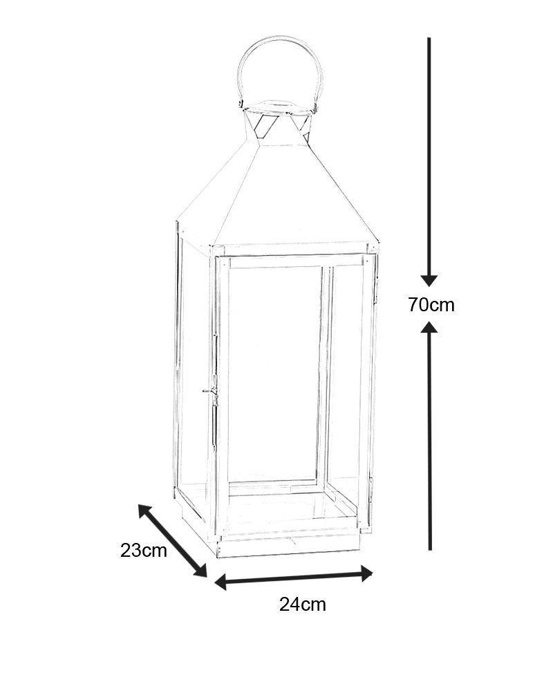 lanterne design d 39 int rieur en aluminium poli 24x23x70cm lampe poser kokoon design sur. Black Bedroom Furniture Sets. Home Design Ideas
