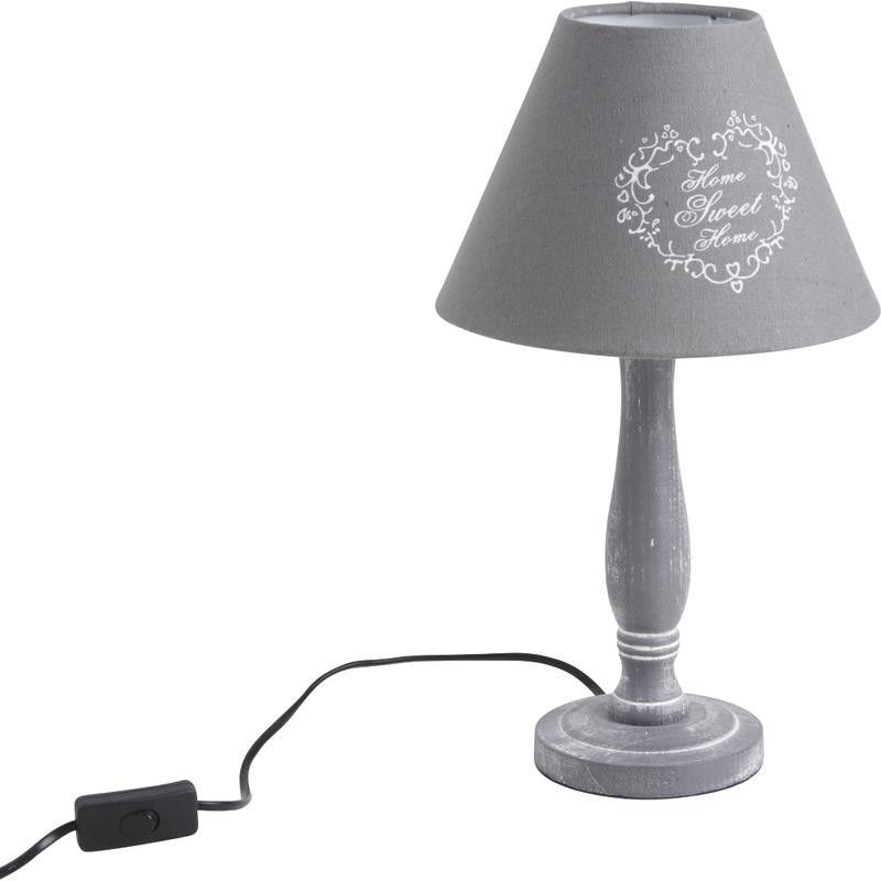 Lampe home sweet home grise for Lampe de chevet london