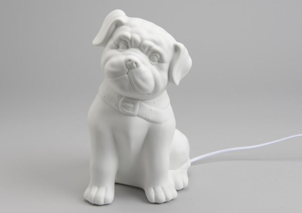 Lampe de chambre chiot en porcelaine - Lampe chauffante chiot ...