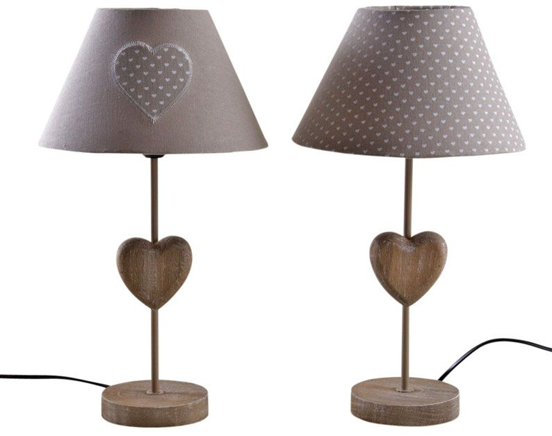 lampe coeur en bois lot de 2. Black Bedroom Furniture Sets. Home Design Ideas
