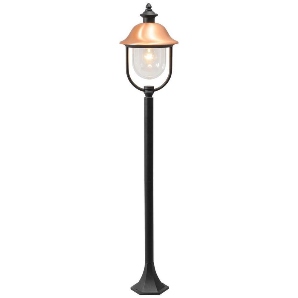 Lampe d 39 ext rieur sur pied r tro noire et cuivr e - Lampadaire noir et blanc ...